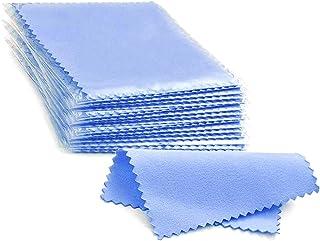 HaiWess 100 件装珠宝清洁布单独包装蓝色抛光布适用于 925 纯银金白金小抛光布