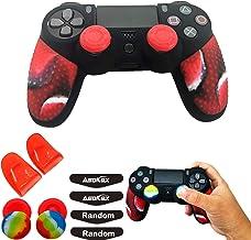 硅胶皮套适用于 Ps4 Slim/Pro DualShock 控制器(1 个防滑保护套,1 对 L2 R2 触发延长器,4 个拇指把手,4 个 LED 灯条保护贴花)(双红色颗粒)