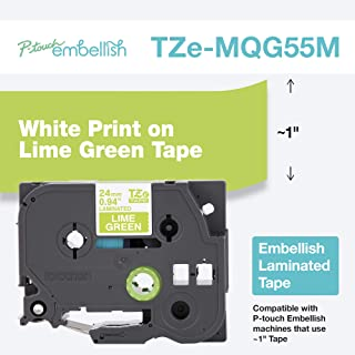 Brother P-Touch 浮雕白色印花石灰绿胶带 TZE-MQG55M - ~1 英寸宽 x 13.1 英寸长(24 毫米 x 4 米)