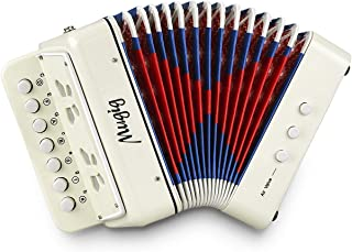 Mugig Button 手风琴,10 键控制手风琴包括 3 个空气阀,易于播放,轻巧环保儿童乐器,适用于幼儿开发(白色)
