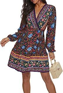 Timathous 女式夏季波西米亚花卉印花裹身 V 领沙滩迷你连衣裙休闲 A 字型连衣裙 6606