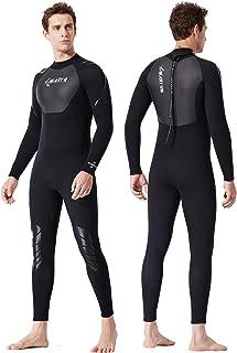 X-MANTN 潜水服男士女士全身超弹力男士女士潜水服带后拉链 3 毫米氯丁橡胶潜水潜水潜水服在水上运动中保持温暖 - SPF50+ UV 防护(男士全身,男式-XLARGE)