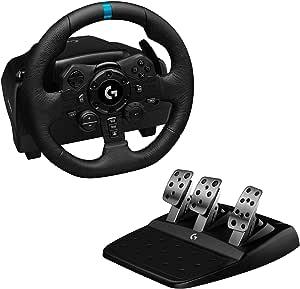 Logitech 罗技 G923 方向盘,适用于游戏机 PS4和PC,英国电源插头 - 黑色