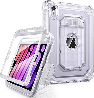 ZoneFoker 透明保护套适用于 iPad Mini 6(8.3 英寸,2021 型号),[内置屏幕保护膜] & 铅笔架双层全机身防震坚固保护壳,适用于 iPad Mini 6 代,透明