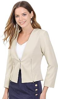 Allegra K 女式工作办公室无领开襟长袖拉链短款外套