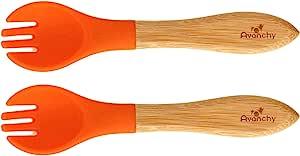 Avanchy 婴幼儿竹制训练叉。 Fda 认证,不含 BPA硅胶。 一个很棒的婴儿礼品套装! 2 件装 橙色