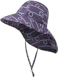 儿童遮阳帽带颈套,可调节婴儿幼儿宽帽檐夏季*沙滩帽 UPF50+