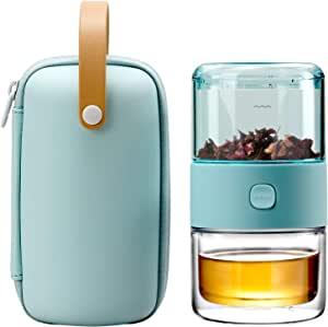 ZENS Tritan 便携式旅行茶壶浸入器套件(含200毫升用于散装茶的双壁茶杯),用于办公室或家庭日常用茶,浅绿色旅行箱