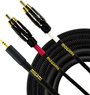 Mogami GOLD 3.5-2RCA 立体声音频 Y 形适配器电缆,3.5 毫米 TRS 插头至双 RCA 插头,金色触点,直连接器Gold Adapter Cable  15 Foot