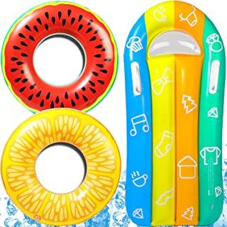 ATTEASAY 3 件套儿童泳池浮标游泳夏季泳池浮标泳池浮标带漂流躺椅,夏季水果绘画,适合 5 岁以上儿童游泳圈