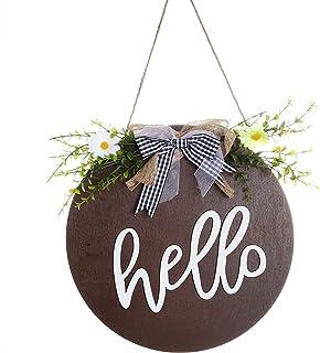 Hello Sign 前门复古木质圆形标志 - Hello Farmhouse Porch 标志(棕色)