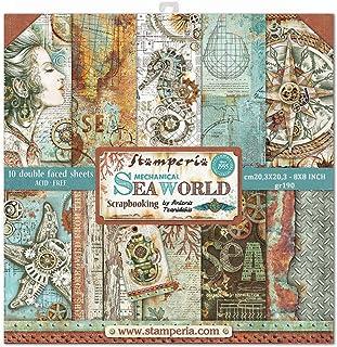 Stamperia International KFT 纸垫 10 张双面海洋世界,多色,20.32 x 20.32 (20.32 厘米 x 20.32 厘米)
