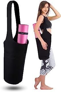 Zenifit 瑜伽垫袋 - 长手提包 - 可收纳更多瑜伽配件。可爱的瑜伽垫支架带附加瑜伽垫带弹性。时尚实用的瑜伽垫包和背带(黑色)