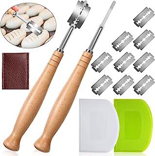 面包车削切工具套装,2件带扩展木手柄的面包车削刀,10件替换刀片,2件塑料面团刮刀和用于烘焙用品的 PU 保护盖