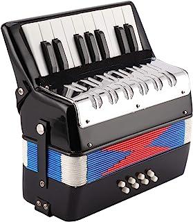 FOLOSAFENAR 入门级钢琴手风琴 17 个钥匙和 8 个低音钥匙 明亮颜色 ABS 塑料更柔软柔和的声音 带可伸缩皮革表带 适合儿童和成人初学者的便携式礼物