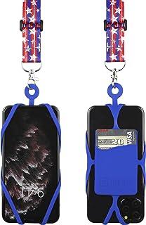 带可调节颈带的 Gear Beast 手机挂绳,适用于 iPhone Galaxy 和大多数智能手机,硅胶手机支架带卡袋和可调节缎面涤纶挂绳LAN-PST25A-FLG-SLB 国旗
