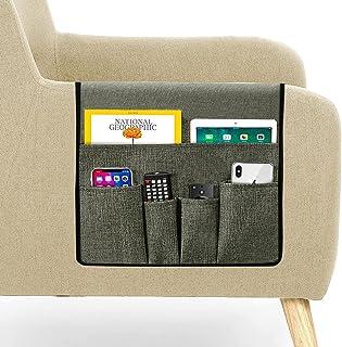 Guken Couch Caddy 遥控收纳收纳架扶手收纳架沙发托盘遥控支架防滑带 5 个口袋可放置遥控器、眼镜、书籍、杂志、零食(深灰色,35 x 宽13)
