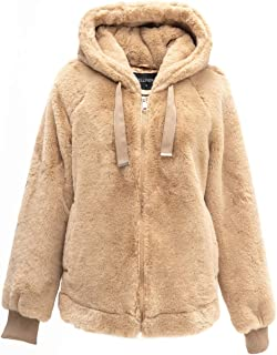 Bellivera 女式人造兔毛夹克,2 个侧缝口袋和兜帽,适合秋冬