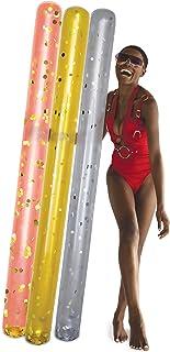 POZA 3 件装充气银色、金色、玫瑰金巨型泳池面条浮块 - 高级奢华 74 英寸(约 188.0 厘米)巨型浮面,填充闪亮五彩纸屑,泳池、海滩和湖泊的泳池浮动面条