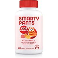 SmartyPants 儿童每日复合维生素软糖:有益于机体的维生素C,D3和锌,无麸质,Omega 3 鱼油(DHA…