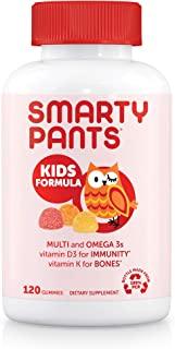 SmartyPants 儿童每日复合维生素软糖:有益于机体的维生素C,D3和锌,无麸质,Omega 3 鱼油(DHA / EPA),抵御危害,维生素B6,甲基B12,120粒(30天)