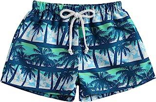 幼儿男婴游泳裤速干沙滩短裤棕榈树游泳短裤幼儿男孩泳装泳衣