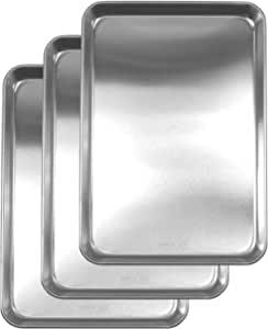 Nagao 燕三条 备餐用不锈钢托盘 3件套 21.5×15厘米 日本制造