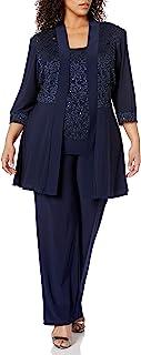 R&M Richards 女士加大码蕾丝长裤套装