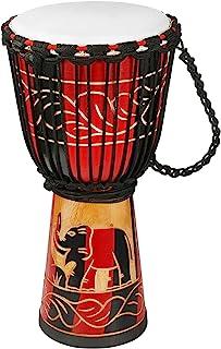 Djembe Drum Bongo 鼓 带山羊皮 非洲鼓 刚果星 尺寸 10 英寸(约 25.4 厘米)适合初学者 儿童和成人
