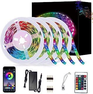 SZZXS LED 灯条,5050 RGB灯条套装,450 LED 灯,蓝牙灯带套装 12 V 24 键组遥控器,适用于室内、卧室、客厅、电视和其他装饰(66 英尺)