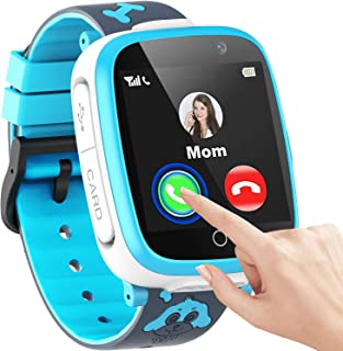 男童女童智能手表,1.54 英寸触摸屏智能手表,儿童带电话 SOS 2 相机游戏视频音乐播放器计算器日历闹钟,儿童智能手表礼品,适合 3-12 岁儿童使用