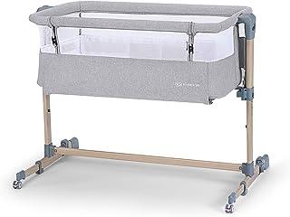 Kinderkraft 婴儿床 NESTE AIR,旅行床,共眠床,可调节高度,侧壁带透气网布,运输轮带配件,棉质床单,适合新生儿,6 个月以上,灰色