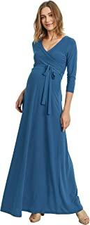 HELLO MIZ 女士人造裹身长裙带腰带孕妇连衣裙 - 美国制造 ¾ Teal Solid Large