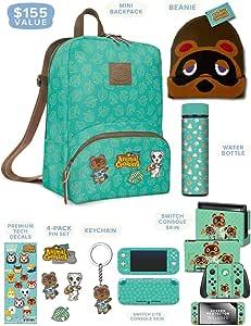Controller Gear 官方Nintendo Animal Crossing: New Horizons Merch - 迷你背包,Switch + Switch Lite Skins,屏幕保护膜,不锈钢水瓶,豆豆豆 - Nintendo Switch