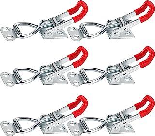 EYYIDATONG Hold Down Toggle Clamps Latch 防滑 红色 手持工具 承载能力 防滑水平快速释放重型拨动夹具工具(4001 - 6 件装)
