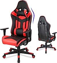 Acethrone 游戏椅,视频游戏椅带缓冲靠背大座椅,PC 电脑游戏椅高靠背,织物游戏桌椅带轮子的可调节扶手,斜倚赛车办公椅...(红色)
