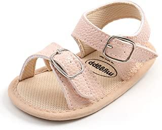 SOFMUO 女婴男孩闪亮凉鞋高级柔软防滑橡胶鞋底婴儿夏季户外鞋幼儿学步鞋 A/Pink 0-6 Months Infant