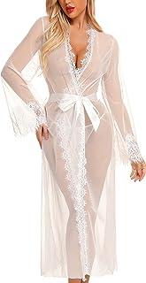 RSLOVE 女式内衣性感长蕾丝和服睡袍网眼睡袍蕾丝礼服泳衣罩衫