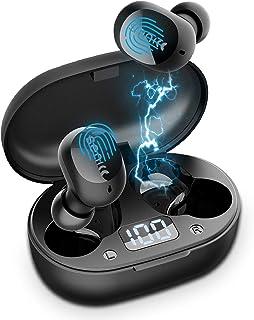 SOMIC 无线耳塞 TWS 耳机,蓝牙 5.0 耳塞入耳式立体声耳机,内置麦克风降噪,24 小时播放时间带充电盒触摸控制 IPX4 防水,适合运动/工作