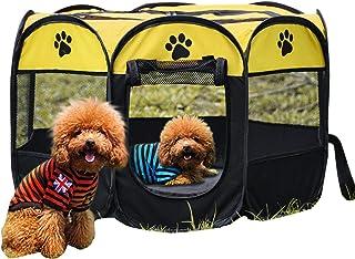 LKEREJOL 宠物围栏 透气宠物笼帐篷 室内室外 可折叠防水防刮便携式运动宠物围栏 宠物帐篷 狗和猫 灰色 S 码