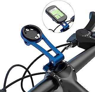 自行车支架兼容 Garmin、Wahoo、Cateye、Bryton ,可调节角度组合自行车电脑安装配件,包括手电筒夹和自行车车把的手机支架(蓝色)