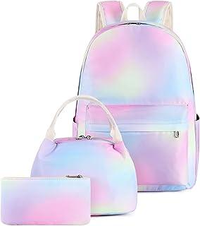 Pawsky 帆布书包套装轻质青少年女孩女士儿童书包大学书包适合 14 英寸笔记本电脑包