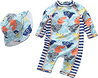 Tunoluker 男婴泳衣连体式幼儿拉链泳衣,带帽子*服冲浪服 UPF 50+