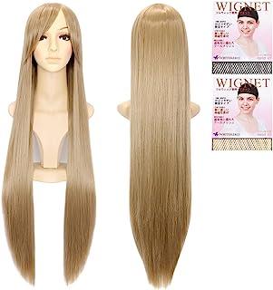 CaseEden 超长直 假发网 2个装 服装用小物件 浅棕色 100cm