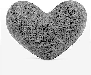sunyou 可爱毛绒红色心形枕头靠垫抱枕礼品送给朋友/儿童/女孩/情人节,适合客厅/卧室/餐厅/办公室和沙发/汽车/椅子(灰色)