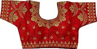 REKHA 女式衬衫纱丽设计师派对服装成衣衬衫纱丽女性设计师印度风格加垫衬衫适用于纱丽露脐 S 035 红色