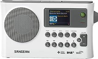 Sangean 山进 WFR-28C 便携式网络收音机 – 收音机闹钟 带双闹铃和闹铃功能 – DAB + 收音机带 USB 音乐流和 AUX 输入 – 白色