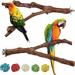 wifreo 2 件装鸟栖息地支架 鹦鹉支架 杆 天然葡萄棒 磨爪 攀爬支架 适用于笼子 配件 玩具分支 适用于长尾小鹦鹉 小鹿 爱情鸟