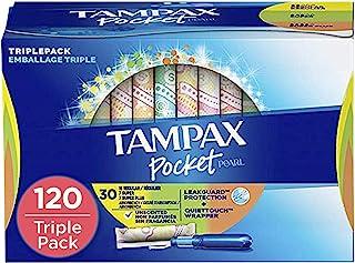 Tampax Pocket Pearl Plastic Tampons, Regular/Super/Super Plus Absorbancy Triplepack, Unscented, 30 Count - Pack of 4 (120 ...