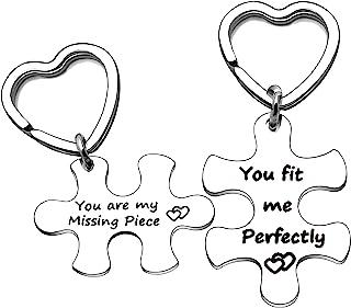 YONGHUI 爱心拼图情侣钥匙链套装钥匙圈适合男友女友丈夫妻子情人节生日礼物